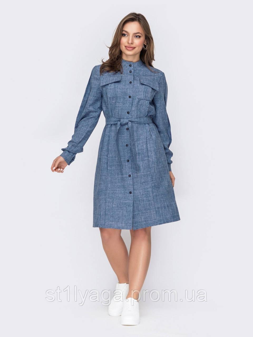 Платье-рубашка с воротником-стойкой и поясом в комплекте