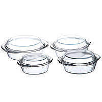 Набор стеклянных кастрюль A-PLUS 4 шт (1095) Круглых