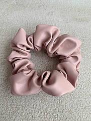 Жіноча резинка широка рожева шкіряна, пудрова резинка з еко-шкіри, розовая резинка кожа