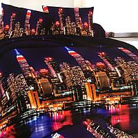 Постельное белье ночной город 3D эффект 145/210 см, нав-ки 70/70 см