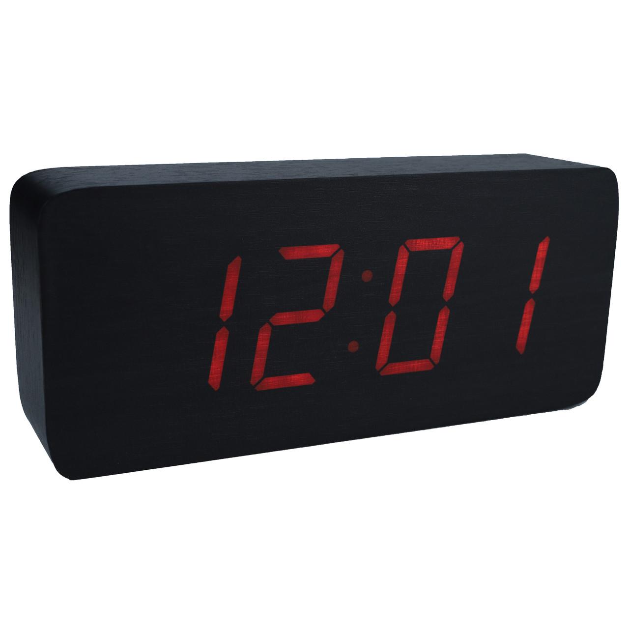 Настільні годинники Led Woden Clock (VST-865-1) Чорні з червоним підсвічуванням