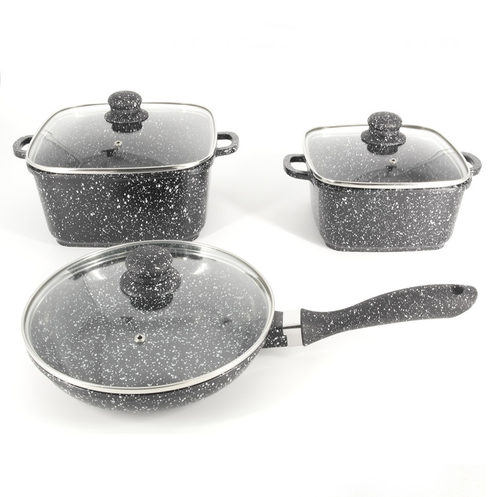 Набор посуды A-PLUS 6 предметов (1505) Мраморное покрытие