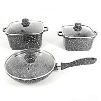 Набір посуду A-PLUS 6 предметів (1505) Мармурове покриття