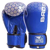 Боксерские перчатки кожаные на липучке BadBoy MA-5434-12 Синий-серебро
