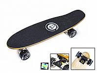"""Пенні борд Penny Board """"Fish"""" з LED-колесами Чорний"""