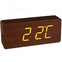 Настольные часы Led Woden Clock (VST-865-1) Коричневые с белой подсветкой