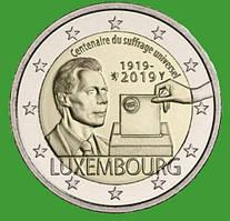 Люксембург 2 евро 2019 г. 100-летие универсального права голоса. UNC