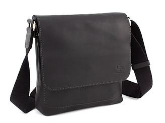 Мужская сумка на плечо из натуральной кожи черного цветаGP