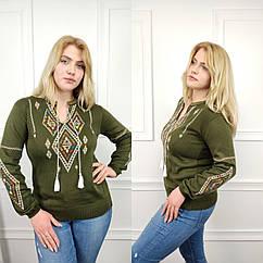 Джемпер вышиванка женская, универсальный (42-52рр), зеленый