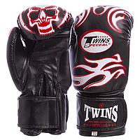 Боксерские перчатки TWINS черные DX на липучке MA-5435, 12 унций