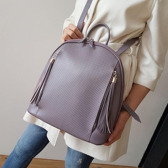 """Сумка-рюкзак """"Еліпс"""" натуральна шкіра, сіро-бузкова матова з тисненням під плетінку"""