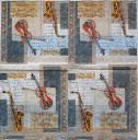 Серветка для декупажу. Скрипка і саксофон, 25х25 см