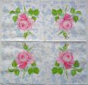 Салфетка для декупажа. Роза и голубой орнамент, 25х25 см