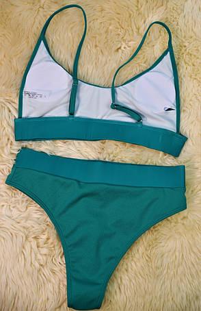 Купальник раздельный зеленый в рубчик, фото 2