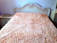 Ворсистый  бамбуковый плед на кровать персиковый