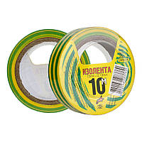 Изоляционная лента 10 м желто-зеленая ПВХ Orbita