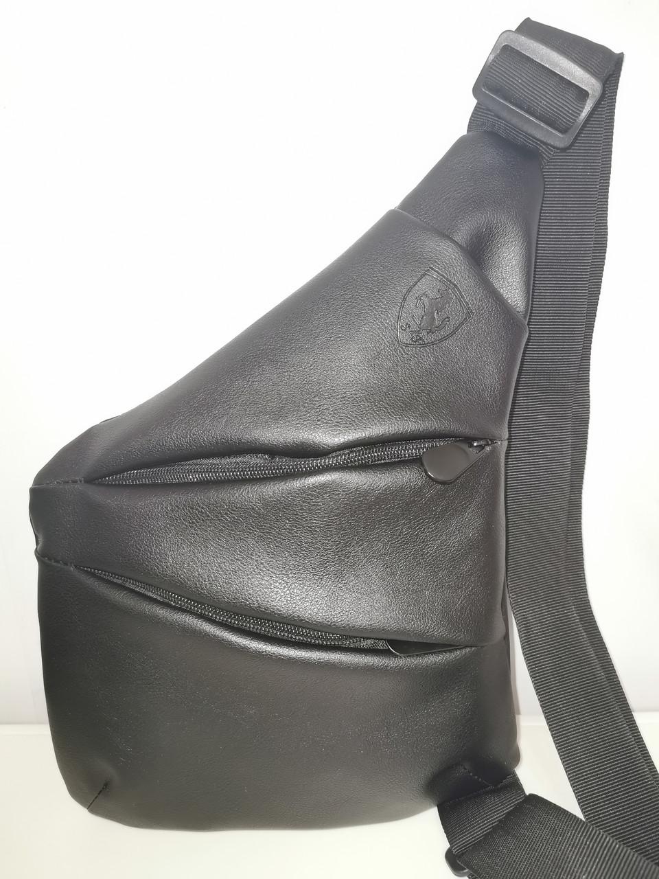 Барсетка слинг на грудь SJ-Ferrari искусств. кожа Унисекс/Cумка спортивные для через плечо(ОПТ)