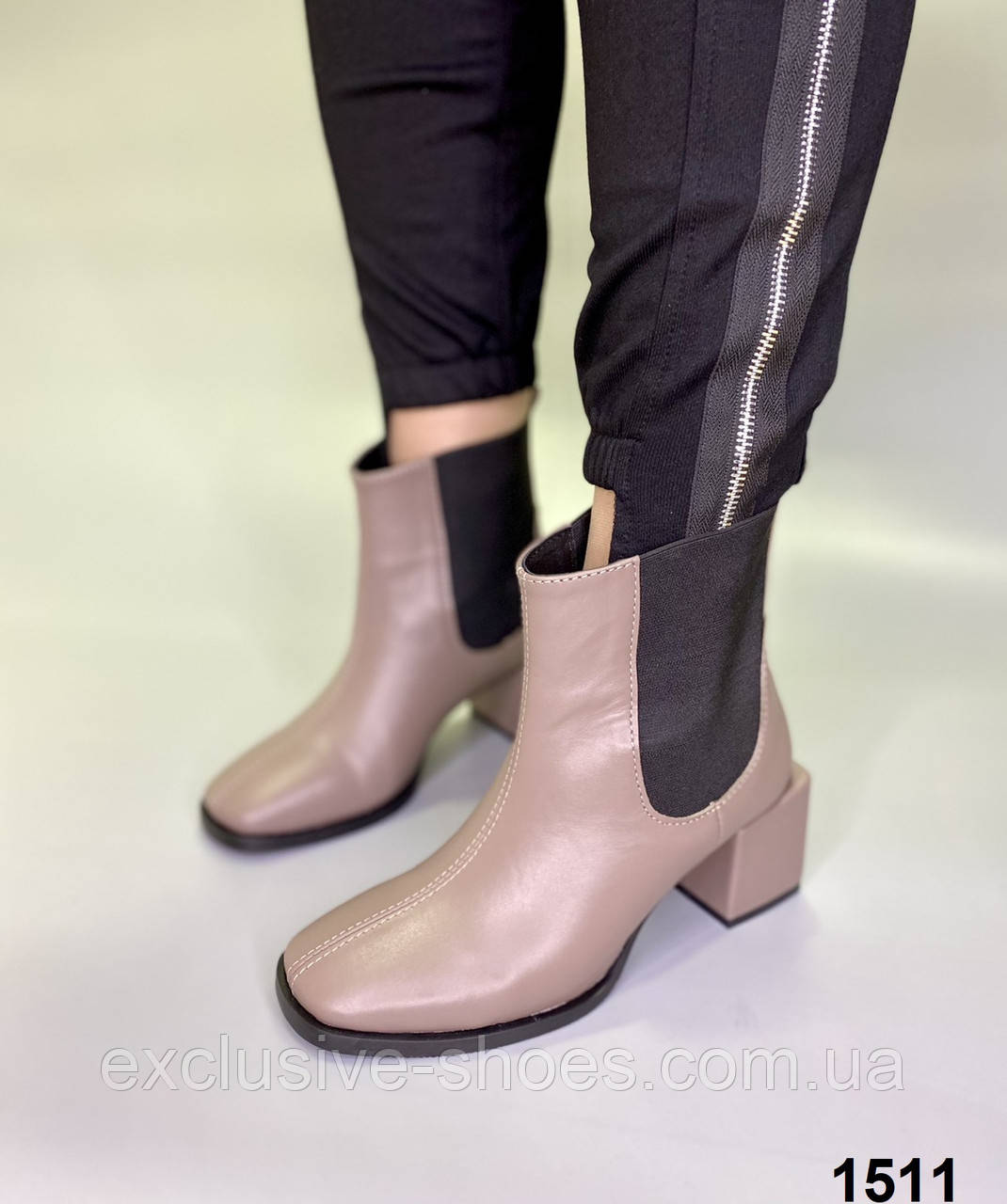 Ботильоны женские кожаные капучино на каблуке