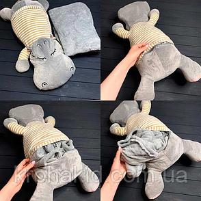 Игрушка-подушка Бегемот (серый) трансформер 3 в 1 с пледом (одеялом) внутри, фото 2