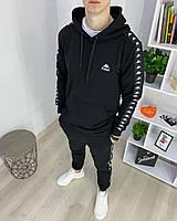 Мужской спортивный костюм Kappa с капюшоном, турецкая двухнитка, спортивные кофта и штаны, цвет черный