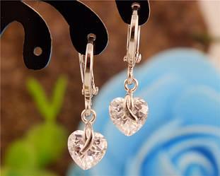 """Сережки """"Снєжка"""", покриття сріблом 925 проби."""