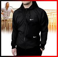 Мужская куртка ветровка Windbreaker с капюшоном, ветровка спортивная демисезонная черная