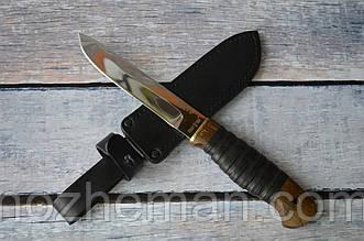 Нож охотничий ручной работы, для тяжелых работ-4, с кожаным чехлом в комплекте