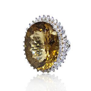 Серебряное кольцо с золотым кварцем  размер 17.5