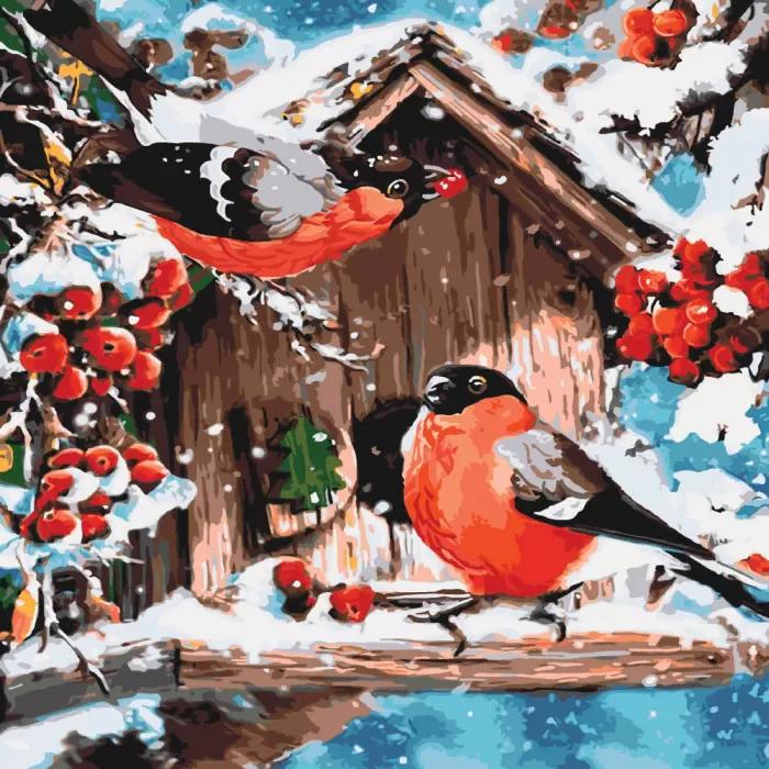 """Картина по номерам. Животные """"Яркие снегири"""" 40*40см KHO4041"""