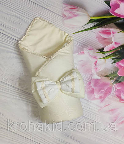 Дитячий демісезонний конверт на виписку з бантом, конверт-ковдру ( ВЕСНА, ОСІНЬ ), плед для новонародженого, фото 2