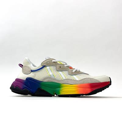 Мужские Adidas Ozweego, серый/радужный цвета, кроссовки Адидас Озвиго, мужская обувь весна/лето