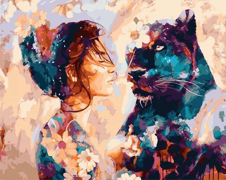 "Картина по номерам. Rainbow Art ""Девушка и пантера"" GX22875-RA"