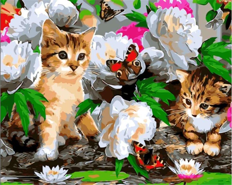 "Картина по номерам. Rainbow Art ""Котята с бабочками"" GX8285-RA"