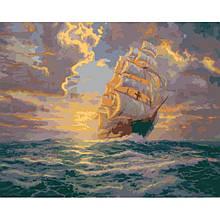"""Картина за номерами. Морський пейзаж """"Світанок під вітрилами 40х50см KHO2715"""