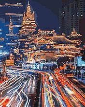 """Картина за номерами. Міський пейзаж """"Нічний Шанхай 2"""" 40*50см KHO3543"""
