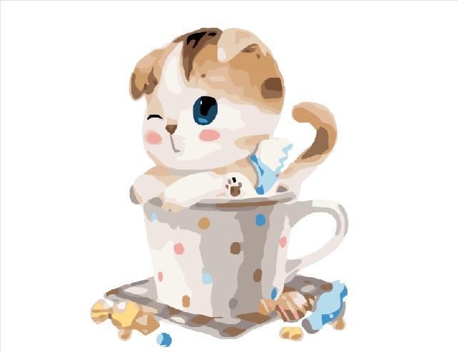 """Картина за номерами. Brushme """"Кошеня в чашці"""" GX8395"""