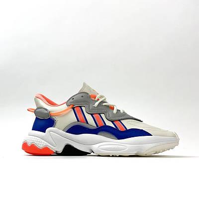 Мужские Adidas Ozweego, серый/синий/красный цвета, кроссовки Адидас Озвиго, мужская обувь весна/лето