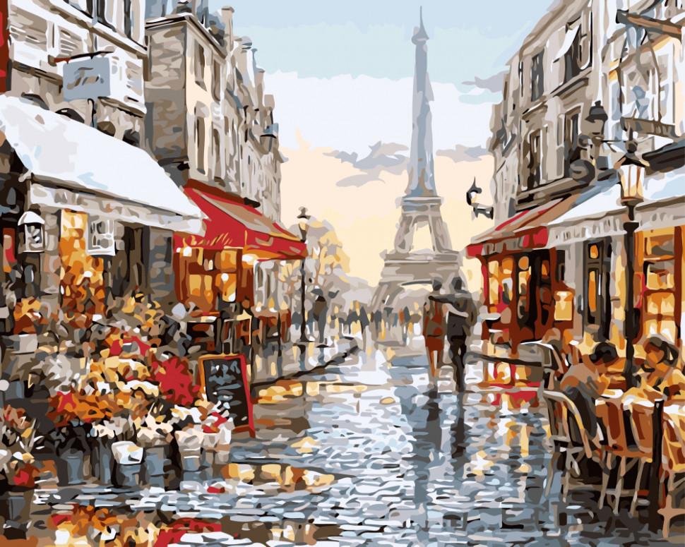 """Картина за номерами. Brushme """"Париж після дощу"""" GX8090"""