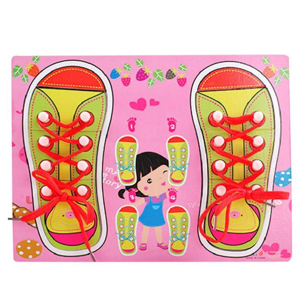 Дерев'яна іграшка-Шнурівка M00956 (Рожева)