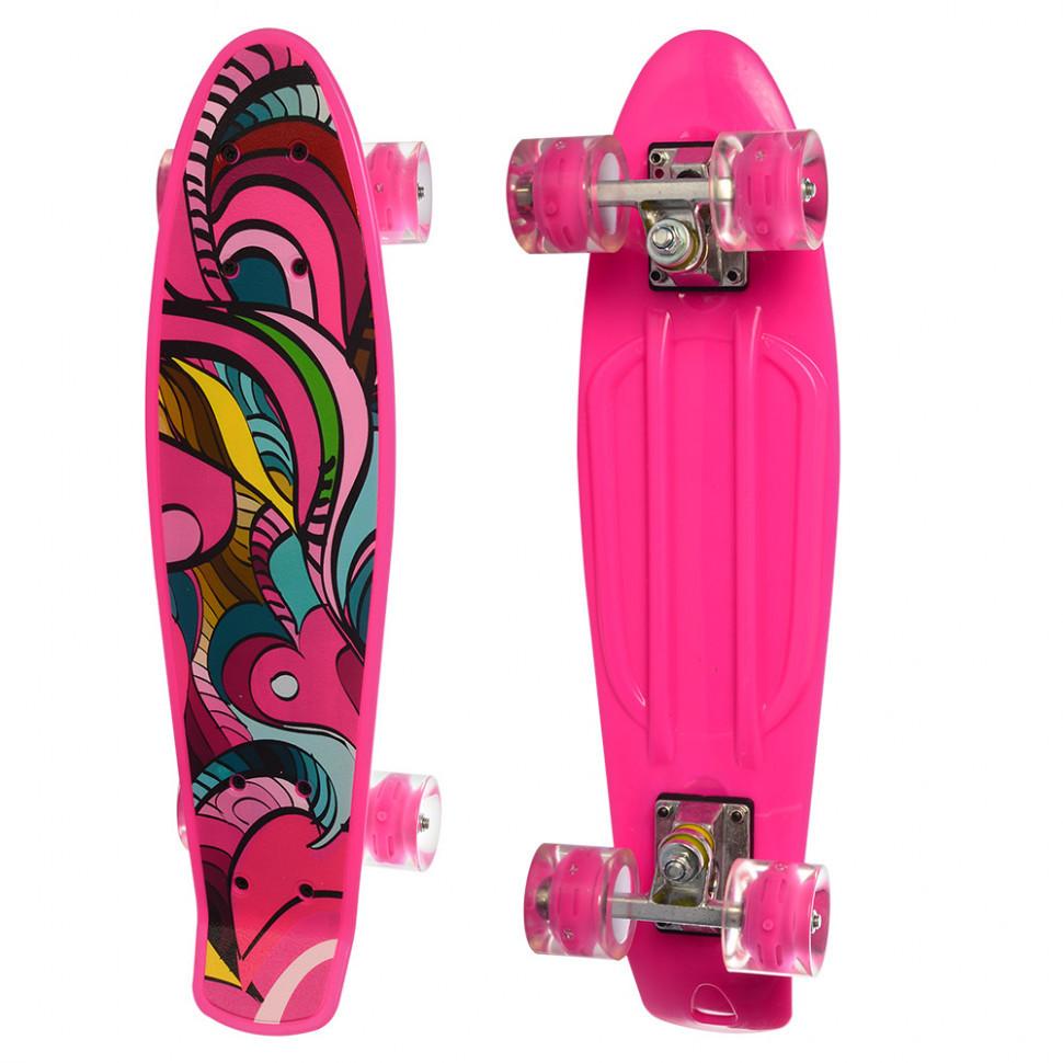 Скейт MS 0749-5 с рисунком (Розовый)