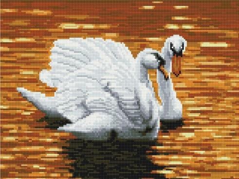 """Алмазная мозаика. Rainbow Art """"Лебеди на закате"""" 30*40см EJ456"""