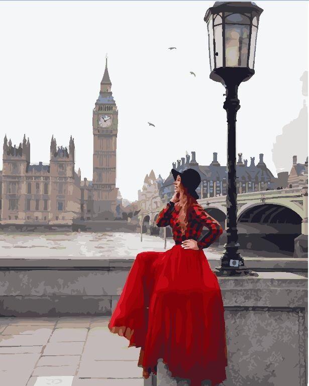 """Картина за номерами. Brushme """"Дівчина в пасмурном Лондоні"""" GX24904"""