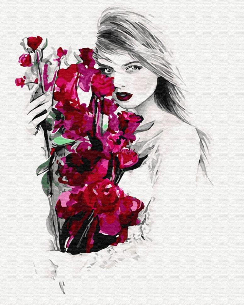 """Картина за номерами. Brushme """"Дівчина і орхідеї"""" GX32429"""