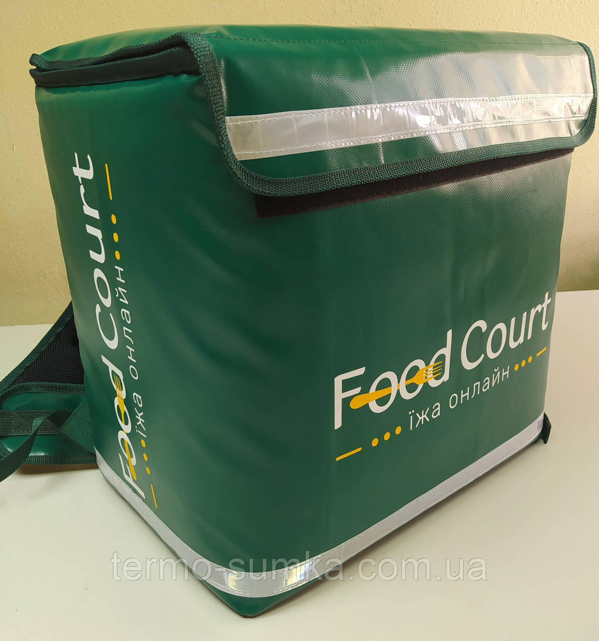 Термосумка для курьерской доставки пиццы, суши, напитков, еды. Рюкзак для еды, суши, напитков. Каркас. ПВХ