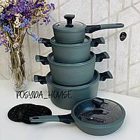 Набор кастрюль с мраморным антипригарным покрытием Edenberg 12 предметов. Набор кухонной посуды EB-5633