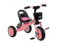 Велосипед трехколесный EVA, розовый с корзинкой