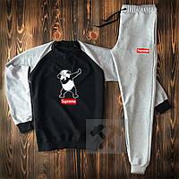 Спортивный костюм мужской Supreme (суприм) осенний весенний черный с серым | демисезонный Свитшот + Штаны