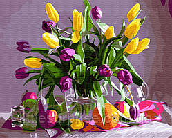 Картина по номерам 40*50 см Мартовские тюльпаны