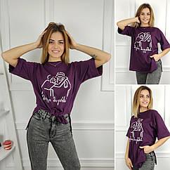 Женская футболка oversize, S,M,L (48-50-52) рр, силует, надпись, баклажановый