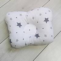 """Ортопедическая подушка для новорожденных """"Серые звёзды"""""""